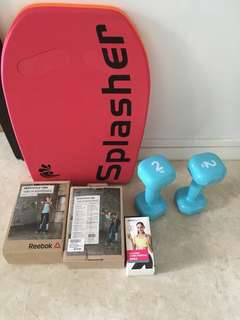 Unused resistance bands, dumbbells, swimming board