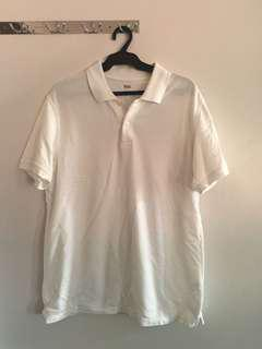 Uniqlo Plain White Polo Shirt