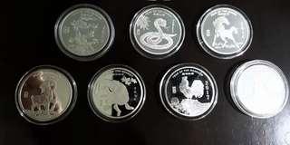 1 oz silver Lunar round 2012-2018