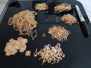 Gold tone craft scrapbook jewellery making parts/ filigree/ connectors