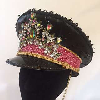 Handmade Festival Military Captain hat • Rave • doof • Rhinestone Hat • Burning Man