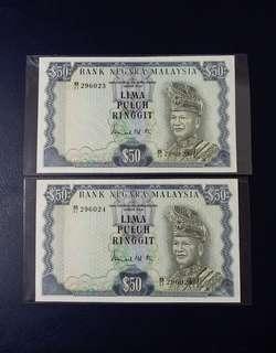 🇲🇾 Malaysia 3rd Series RM50 Banknote~2pcs Consecutive Pair