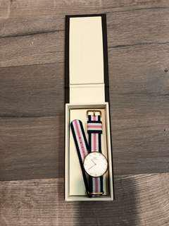 Daniel Wellington Watch - pink and blue stripe with crystals