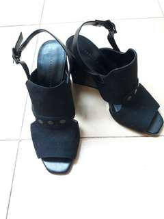 Charles and Keith Black Suede Wedges