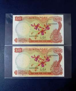 🇸🇬 Singapore Orchid Series $10 Banknote~LKS Without Red Seal~2pcs Consecutive Pair