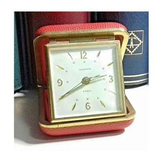 1900's EUROPA GERMANY TRAVEL ALARM CLOCK 2 JEWELS