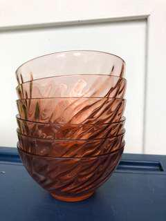 6 Arcoroc pink glass bowls Vintage France