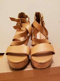 GAP Leather corked wedges