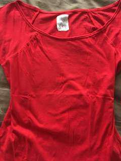 Zara TRF red scoop neck