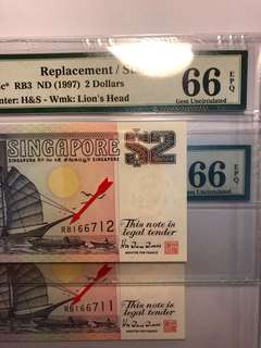 1 pair of Singapore Purple Ship $2 RB prefix Replacement notes running number PMG66 EPQ