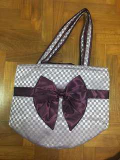 Naraya purple checkered bucket bag