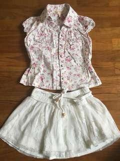 Skirt and shirt set for girls