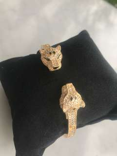Gold plated panther zircon stone bracelet