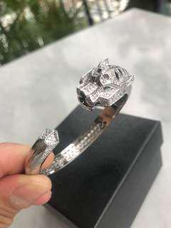 Silver panther zircon stone bracelet