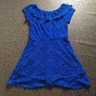 Blue lace off shoulder dress