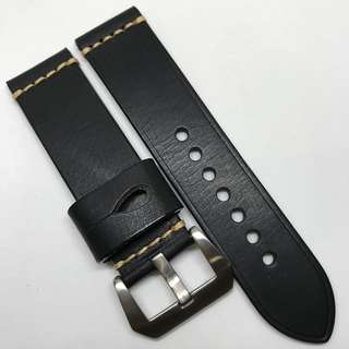 Premium Grade 24mm Watch Strap Black Colour Genuine Leather With Single Line Stitching
