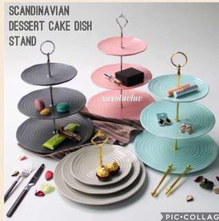 Scandinavian Three-Tier Dessert Cake Stand In Gold Silver Crown & Round Ring