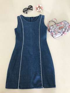 Yacht 21 Chic Denim Piped Dress