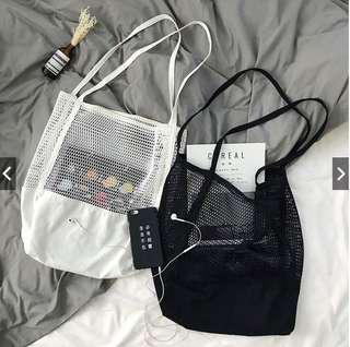 BNIB black mesh canvas tote bag