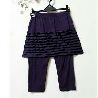 🚚 深紫  蕾絲滾邊短裙  彈性假兩件式  褲裙#衣櫃大掃除