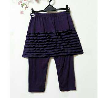 🚚 深紫  蕾絲滾邊短裙  彈性假兩件式  褲裙