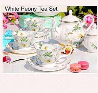 European Style Tea Pot and Cup & Saucer Set with Gold Trimmings