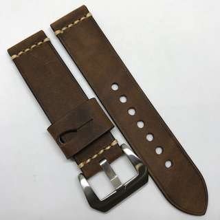 Premium Grade 22mm Watch Strap Dark Brown Colour Crazy Horse Genuine Leather With Single Line Stitching