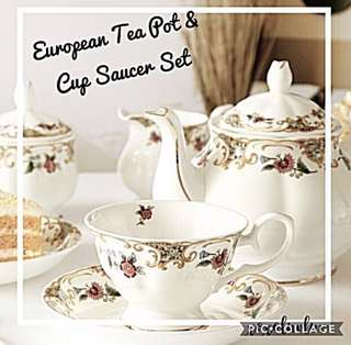 European Style Tea Pot Cup & Saucer Set