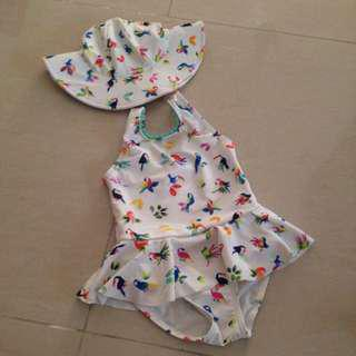 Swimming Suit set with sun hat