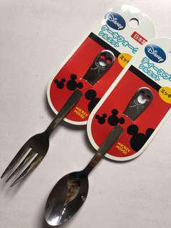 Mickey Mouse fork and spoon set stainless steel from japan