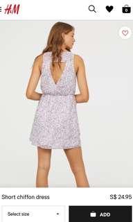 H&M Divided Shor Chiffon Dress For UK10-UK12