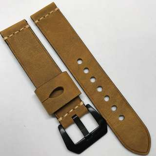 Premium Grade 20mm Watch Strap Brown Colour Crazy Horse Genuine Leather With Single Line