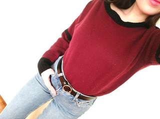 Asian Maroon Knit Jumper