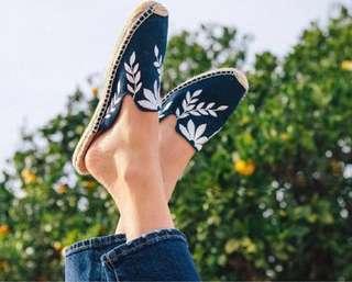 Denim Embroidered Mules Espadrilles #噢賣鞋