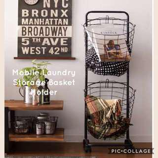 Brand New Mobile Laundry Storage Basket Holder With Wheels