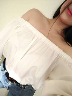 White Asian Off the Shoulder Blouse
