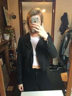 Elwood black crop biker jacket