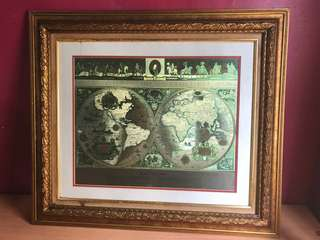 Amirrmln95s items for sale on carousell vintage framed gold foil blaeu wall map of the world publicscrutiny Images