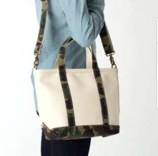 L.L.BEAN Camouflage 2way canvas tote bag + FREE Naraya bag!