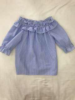 Light blue and white striped off-shoulder blouse