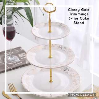 Brand New Classy 3-tier Gold Trimmings Cake Stand