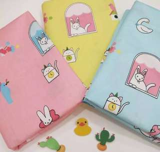 Cute rabbit catty Quality 100% cotton baby fabric/kain diy cotton cloth
