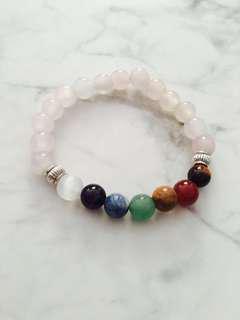 Natural rose quartz with 7 chakras