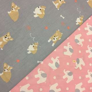 Cute doggie elephant Quality 100% cotton baby fabric/kain diy cotton cloth