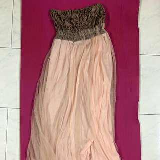 NEW Beige Tube Maxi Dress