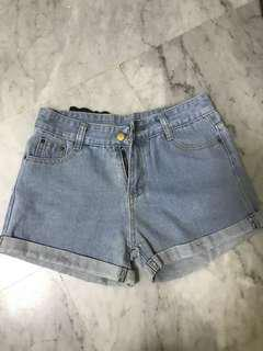 ulzzang light denim high waist shorts