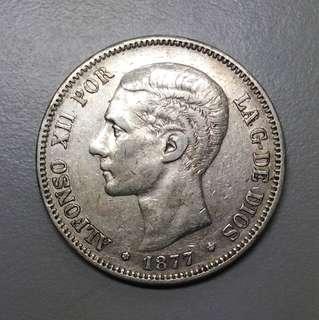 Spain silver coin 1887