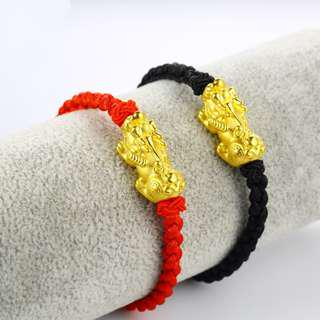Good Luck Red String 24K Gold Plated Pixiu Bracelet