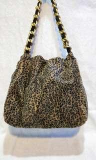 🚚 豹紋絨毛布 小提包 肩背包 咖啡色