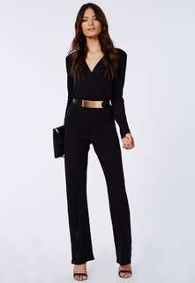 V-neck long sleeve black jumpsuit with pockets